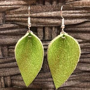 Metallic lime green leather earrings